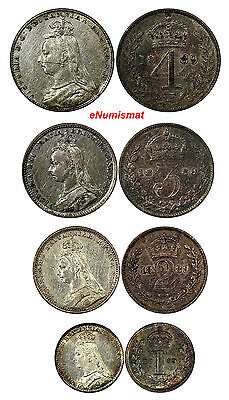 Great Britain Victoria Four 4 Coin 1889 Maundy Set XF/UNC Condition MDS144