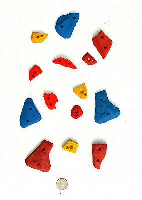 Rock Climbing Holds, New, Mega Set Of 14 Screw-On, Made By X-Es Climbing Holds.