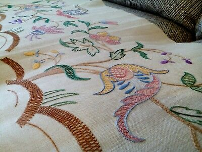 Vintage 1930s  hand embroidered picture panel Jacobean linen Penelope Lepcester
