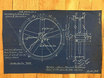 """Antique Vintage Industrial Blueprint Drawing 17"""" X 11""""Machine Drive Pulley"""