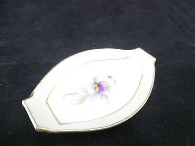 Vintage Hand Painted NIPPON Trinket Tray with Violet Pattern