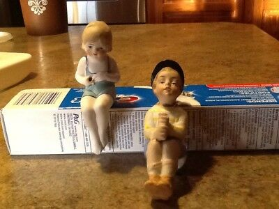 Vintage Bisque Figurines-Boy & Girl Fishing-marked Germany