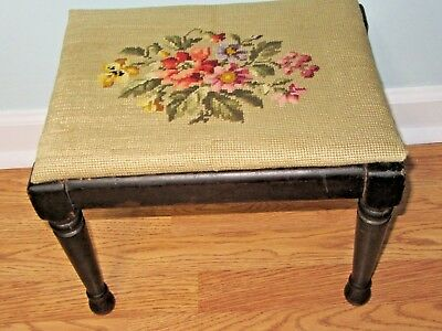 Excellent Small Mid Century Needle Point Foot Stool ~ Very Nice Condition