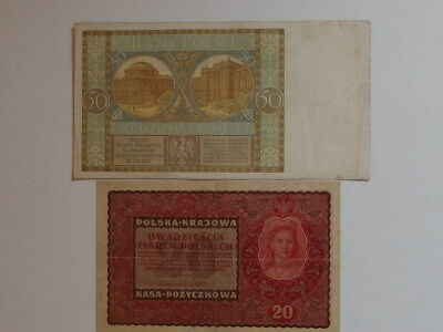 Old Poland 1919 20 Mark & 1929 50 Zlotych Banknotes