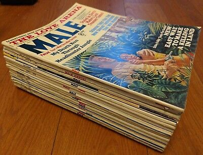Vintage Male Adult Magazine Lot 16 Issues 1969-71 Stag PULP Pinup Rare Nice!
