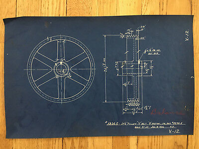 """Antique Vintage Industrial Blueprint Drawing 17"""" X 11""""Machine 5 Groove Pulley"""