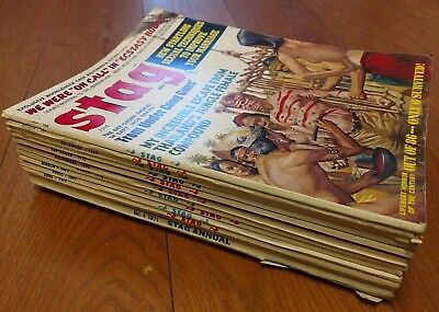 Vintage Stag Adult Magazine Lot 12 Issues 1968-71 Mens PULP Pinup Rare Nice!