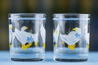 1980s COUNTRY GEESE VOTIVE CANDLE HOLDERS glass Anchor Hocking