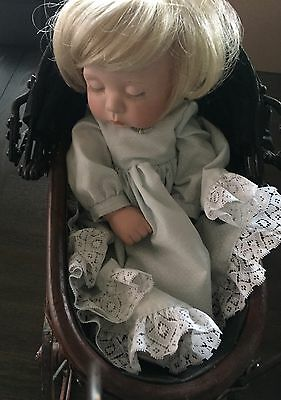 Small Antique Vintage Stroller With Baby Doll