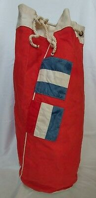 Vintage 1950s Sailor's Red Canvas Duffel – Taggard – Marblehead, MA – pre-owned
