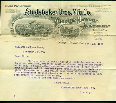 1905 Studebaker Bros. Mfg. Co. Automobiles Letter - South Bend,IN