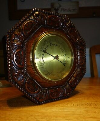 """Large Victorian Antique English c1910 Carved Oak Aneroid Wall Barometer 12"""""""