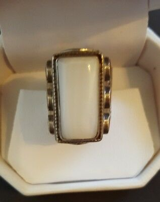 Vintage stamped work silver tone statement ring size 9 1/2 with stones