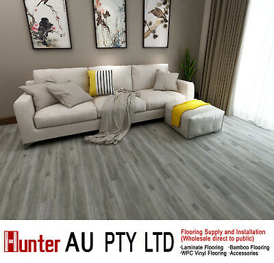 12MM AC4 Laminate Flooring-Grey Oak Color-Click Lock Floorboards Sample