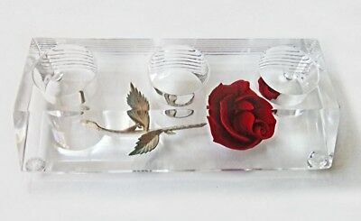 Vintage Retro ~ Clear Lucite Triple Lipstick Holder w/ Red Rose
