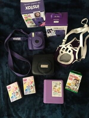 Fujifilm Instax Mini 8 Instant Film Camera Grape Bundle +Film+Cases+Strap+book