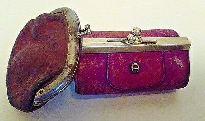 2 Antique Leather Coin Purses - one has letter A on it - very old