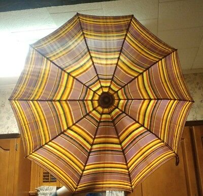 Vintage Art Deco Umbrella Clear Lucite Handle Striped Parasol with Wood Frame