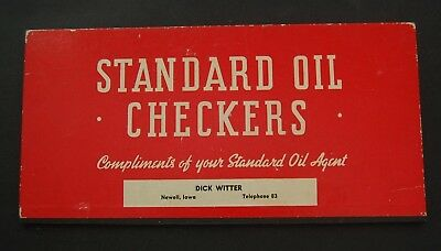 Vintage Standard Oil Advertising Checkers Set - Dick Witter Newell Iowa
