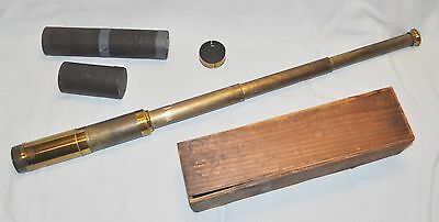 "Vintage Brass Monocular Telescope (32.5"" inch long, opened) w/ case & wooden box"