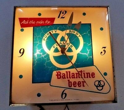 Rare Vintage Ballantine Beer Lighted Clock Sign w/ FREE SHIPPING WORKS!