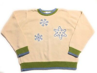 Hanna Andersson Cotton Knit Sweater Boys Size 150 cm 12 us Snowflakes