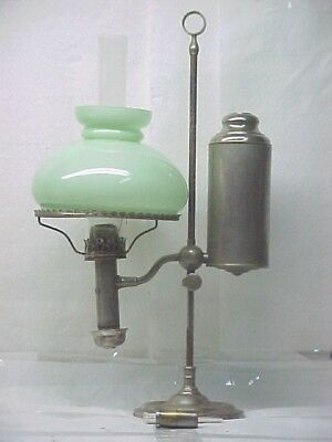 Complete Victorian Student Oil Lamp. W/ Cased Shade, Ready To Burn