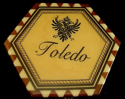 Vintage Toledo Spain Hexigon Inlaid Wooden Dresser Hand Made Dresser  Box 4 3/4""