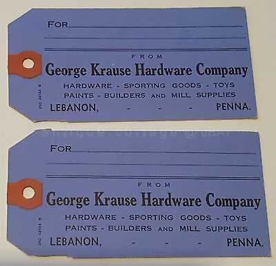 LOT vintage/antique 2pc GEORGE KRAUSE HARDWARE COMPANY lebanon pa SHIPPING TAGS