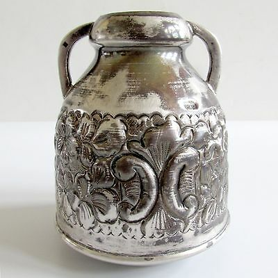 Hand Chased Egyptian Silver Small Bottle Vase w Handles Made in Cairo Egypt 165g