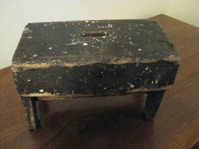 Vintage Primitive Wood Stool Bench Shabby Rustic Country Foot Rest
