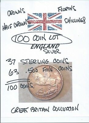 100 SILVER COINS, Great Britain, 37 Sterling (.925) Coins, 63 .500 Fine Coins