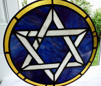 Antique Vtg Church Stained Glass Architectural Salvage Sun Catcher Star W66