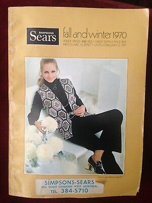 Vintage 1970 Simpsons Sears Fall and Winter Catalog Rare