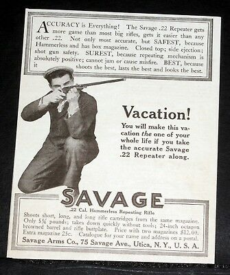 1909 Old Magazine Print Ad, Savage Arms Co, .22 Cal. Hammerless Repeating Rifle!