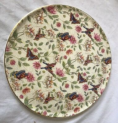 "Vintage Royal Tudor Ware Barker Bros. 11""  Cake Plate Chintz Butterfly EVC!"