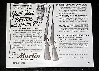 1951 Old Magazine Print Ad, Marlin, You'll Shoot Better With A Marlin .22 Rifle!