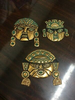 3 Vintage COPPER AZTEC Head FACE Mask WALL HANGING Mexican Mayan Metal Folk Art