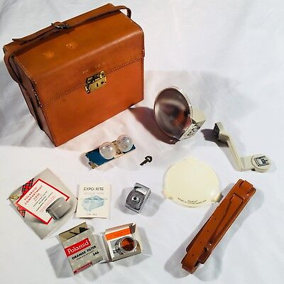 Lot Old Polaroid Photography Equipment Case Bulbs Diffuser Filter Light Meter