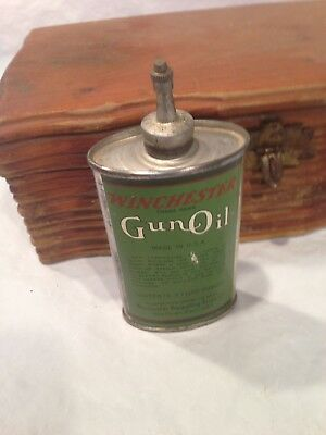 Antique Winchester Repeating Arms Gun Oil Tin Litho Handy Oiler Rifle Lube Can