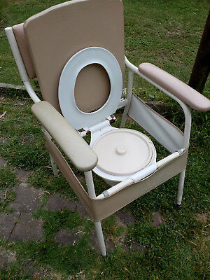 Comode indoor toilet seat, large, sturdy.