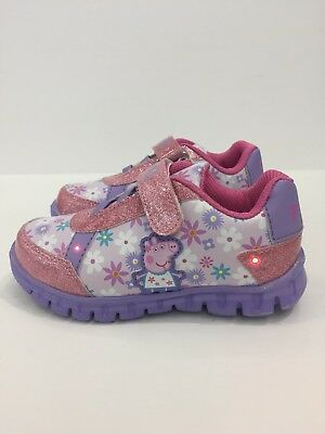 Peppa Pig Flowers Light-Up Sneakers Size 7 Youth - Pink NWT
