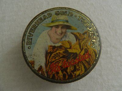 "OLD  1920/30""s  RIVERHEAD  GOLD  TOASTED  TOBACCO TIN - 2 oz"