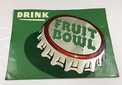 Drink Fruit Bowl Metal Soda Sign Gas Station Country Store Sign Advertising