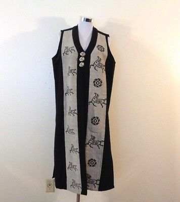 Vintage Venus Imports Made In Nepal Black Cotton Tribal Pattern Long Vest Sz S