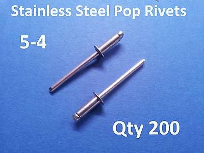 200 POP RIVETS STAINLESS STEEL BLIND DOME 5-4 4mm x 10.2mm 5/32""