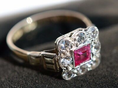 9ct Yellow and White Gold & Ruby and White Sapphire Art Deco Ring