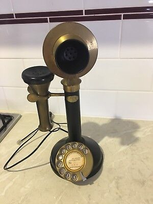 Antique Brass And Black Working Phone