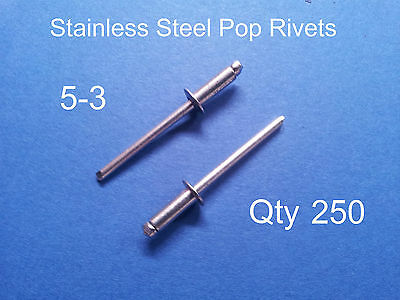 250 POP RIVETS STAINLESS STEEL BLIND DOME 5-3 4mm x 8.6mm 5/32""