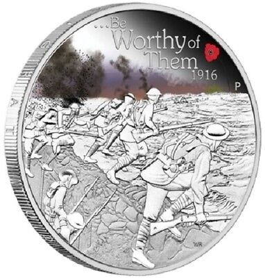 2016 $1 The ANZAC Spirit 100th Ann. Coin Series - Be Worthy of Them - 1oz proof